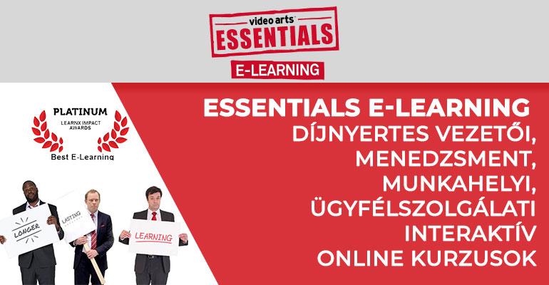 Essentials e-learning – díjnyertes vezetői, menedzsment, munkahelyi, ügyfélszolgálati interaktív online kurzusok